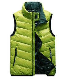 Wholesale Senior outdoor down vest high collar men velvet waistcoat genuine lovers down vest M L XL XXL