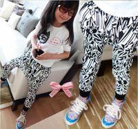 Wholesale girls fashion harem pants kids morden trousers popular costume children garment autumn clothing zebra stripes