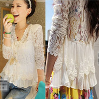 Wholesale 2014 New Lace Blouses Skinny shoulder pad precious mosaic lace Blouses cardigan sunscreen Blouses air conditioning W4305