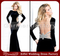 Wholesale Velvet Black Evening Dresses Boat Neckline Sheath Sweep Train Sheer Back Long Sleeve Prom Dress