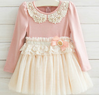 Princess Girls Outwear Dress Long Sleeve Pearl Beaded Hollow...