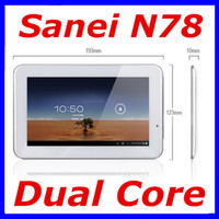 Sanei 7 inch Dual Core discount shipping Original Sanei N78 3G Tablet pc Qualcomm Dual Core Android 4.0 1.2Ghz Dual Camera Bluetooth WCDMA 3G