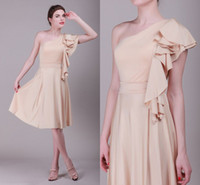 Wholesale 2014 Backless Champagne Chiffon Bridesmaid Dresses Cheap Zipper One Shoulder Formal Dresses Ribbon wedding dresses Knee Length Elegant Tan