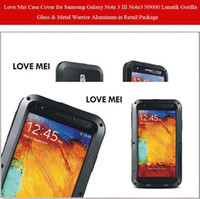 Wholesale Love Mei Lunatik Taktik Case Cover for Samsung Galaxy Note III Note3 N9000 Gorilla Glass amp Metal Warrior Aluminum in Retail Package Sample