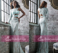 Reference Images Crew Lace Charming full lace baby blue evening dresses long sleeves backless floor length sheath formal prom party gowns with crew neck BO3576