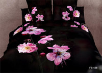 Wholesale DHL Black Pink Flower Design D sheets bedding sheets and bedding sheet sets bed bedding sets bedroom bed sets