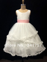 Model Pictures Baby Ruffle 2014 New Fashion Little Girls Pageant Dresses White Organza Ball Gown Sashes Ruffles Free Shipping FL7
