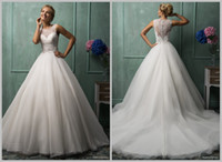 Cheap A-Line LargeTail Wedding Dresses Best Model Pictures Bateau 2014 wedding gowns