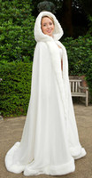 Faux Fur capes - 2014 Winter White Wedding Cloak Cape Hooded with Fur Trim Long Bridal Jacket WD009