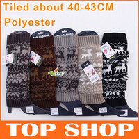 Wholesale Boot Cuffs Deer Snow Printing Warm Leg Warmers Colors Polyester In Tube About CM Fashion Boot Socks Women FZ0062