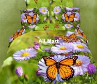 Adult Twill 100% Cotton 5PC cotton purple flower butterfly green Duvet cover queen king 3d bedding set bedclothes bed sheet linens bedroom comforter set