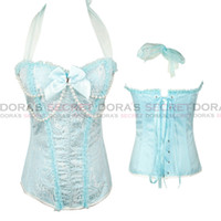 Wholesale 2014 New Lady Sexy Blue Jacquard Brocade Corset Bustiers with Faux Pearls Hot Shapers Body