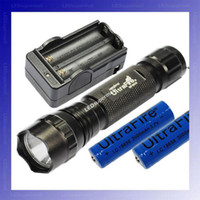 Wholesale BLACK UltraFire WF B U2 Cree XM L U2 Lumens LED Flashlight x mAh battery Charger