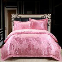 Wholesale Noble silk jacquard bedding set luxury pc duvet cover set home textile silk bedding king size bed sets bed linen romantic wedding bedding