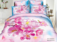 Adult Twill 100% Cotton Pink Flower White print girls queen 3d cotton comforter set bed in a bag bedding set sheets quilt duvet cover bed set bed linens