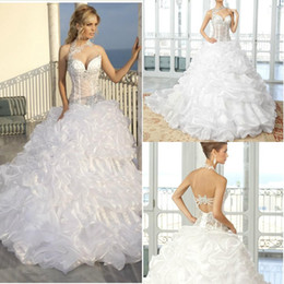 Wholesale Amazing Sheer Backless Wedding Dresses Ball Gown Halter Elegant White Lace Organza Crystal Beads Ruched Sweep Train Bridal Gown