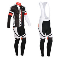 Wholesale 2014 Pinarello Cycling Jersey Set Winter Thermal Fleece Long Sleeve Bib Cycling Clothes High Elastic Spandex Close Fitting Bicyccle Wear