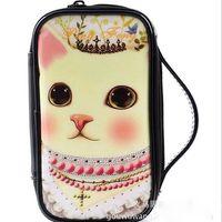 Wholesale Korean PU Leather Coin Purse Hanbags Makeup Bags Money Bag Wallet Cosmetic Storage Phone waterproof Cases cm Cartoon Cati bags
