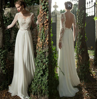 Wholesale Bateau A line Backless Wedding Dress Sheer Sleeve Applique Ribbon Wow Chiffon Lace Berta Bridal Winter Long Sleeve Wedding Dresses