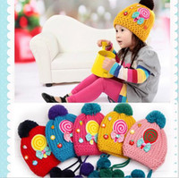 baby girl hats - Winter Children Caps The Embroidery Lollipop Kids Beanies Cap Thicken Warm Knitted Baby Boy Girl Hats Child Hat QZ463