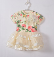 baby girl kids summer short sleeve floral tutu dress rose fl...