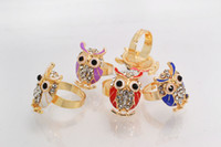 Wholesale FREE Jewelry Gold Plated Mixed Rhinestone Owl Rings Adjustable New