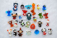 Glass   FREE Wholesale lot cartoon animal Murano Glass bead Pendant Fashion Jewelry