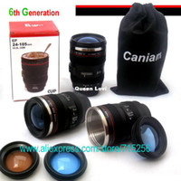 Wholesale 120pcs th Generation stainless steel liner travel thermal Coffee camera lens mug cup with hood lid ml g caniam