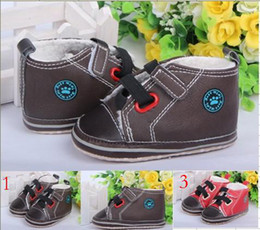 Wholesale 10 off New winter baby shoes red dark khaki toddler shoes warm first walker shoes cotton shoes sports winter shoes pairs ZH