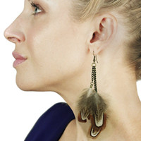 Wholesale g493 foreign trade feather earrings feather earrings multi storey warehouse selling models