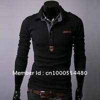 Men Cotton Polo 2014 White Men's Polo Shirt Long sleeve cheap Slim Casual Shirt Plaid Collar Cotton M L XL Free Shipping