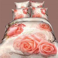 Wholesale 5PCS comforter sets d queen girls pink roses floral white duvet covers comforters bedroom quilt cover set bedding sets linens