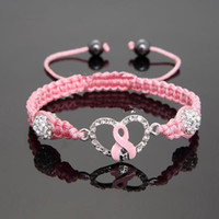 breast cancer awareness - Fashion Hot Crystal Pink Ribbon Breast Cancer Awareness Bracelet Gift