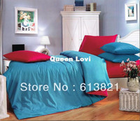 Adult Twill 100% Cotton 100% cotton reactive printed plain solid 3d bedding set queen king size bedclothes duvet cover red and blue the bed linen 800TC