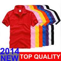 Wholesale 2014 New brand Top quality Polyester Cotton sport polo shirt Short sleeve fashion men s T shirt colors M XXXL