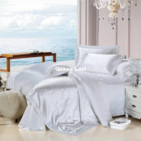 Adult Twill 100% Cotton Luxury White Silk Bedding Set Silk Satin Bedspreads 100% Silk Sheet Set Silk Sheets Queen Size 5pc Fitted Sheet Free Shipping