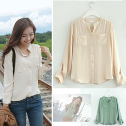 Wholesale New Women s Sweet Solid color Long Sleeve Pocket Office Lady Shirt Tops Drop shipping