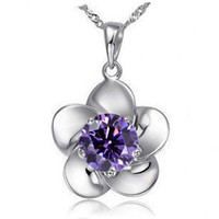 Pendant Necklaces Asian & East Indian Women's Plating 925 Sterling Silver White&purple diamond Flower Pendant P33