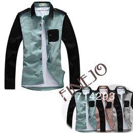 Wholesale Men s Shirt V neck Knitting Long Sleeve Splicing Pocket Causal Clothes