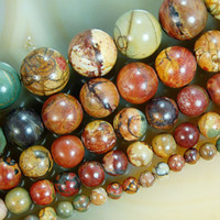 Wholesale mm mm Natural picasso jasper stone Round Beads quot strands