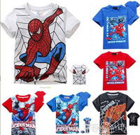 Boy Summer  Wholesale -Free Shipping!! Baby Boys superman t-shirt Short sleeves tees Kids cool tops Summer cotton shirt Children cartoon clothes wear