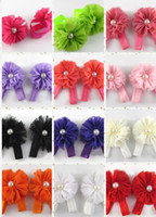 Wholesale 20pairs FASHION Pearl CHIFFON FLOWER baby Foot flower Baby Sandals Barefoot Sandals Baby Shoes Toddler Shoes