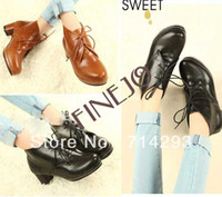 Wholesale New Fashion Luxury Women s Vintage Medium Heels Casual Shoes Lace Up Ankle Boots
