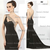 Reference Images Spaghetti Straps Satin 2014 Tarik Ediz 92090 Sexy Black Sparkling Beads Mermaid One shoulder Sweetheart Backless Chapel Train Stain Evening Dresses Dhyz 01