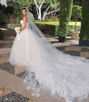 Lace Edge cathedral veil - KimKardashian New Best Sale Charming White One Tier Cathedral Bride Wedding Veil Custom Meters Long