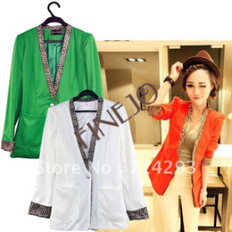 Wholesale Korea Stylish Women s Girls Leopard Collar Candy Color Slim Fit Suit Jacket Coat Colors
