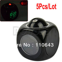 Wholesale 5Pcs LCD Clock Talking Projection Voice Sound Controlled Alarm Clock