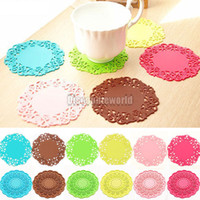 Wholesale 12Pcs Silicone Lace Flower Cup Drink Holder Coaster Mat Pad Placemat Tableware CX27 colors a