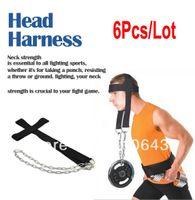 TK0864# Nylon Black 6pcs Lot Wholesale Head Harness Black New Nylon Neck Strength Head Strap Weight Lifting Exercise Fitness Belt TK0864