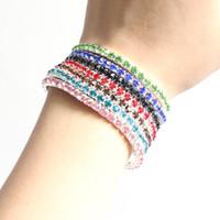 Tennis crystal stretch bracelet - High quality cheap Tennis Bracelets New Fashion Jewelry Multi Color Rhinestone Crystal Stretch Bracelet Tennis Bracelets